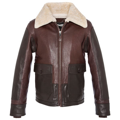 ANJ-4 FLIGHT JACKET, BODY AND SLEEVES GOAT NAPPA, LEATHER INSERTS IN NAKED COWHIDE