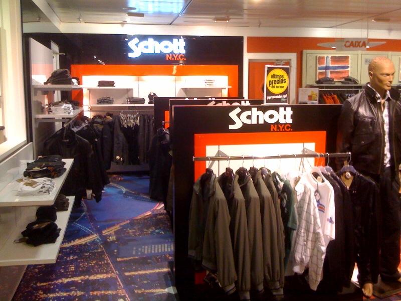 new schott nyc shop in el corte ingles de plaza catalu a in barcelona. Black Bedroom Furniture Sets. Home Design Ideas